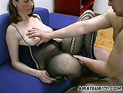 Blow and Booty HJ for My Amateur Bosnian Busty Milf