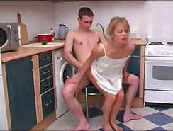 skinny Russian girl is sucking some old bar stool in the kitchen