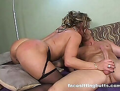 Classy cougar fucks guy during home sex