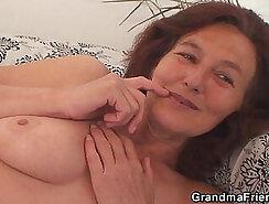 Busty vintage granny swallows tiny cock