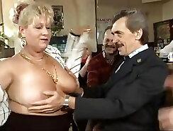 Big breasted brunette tramp rides hard dong like mad before fierce gangbang