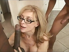 Attractive babes Nina Hartley and Jenna Rosanna undressed in the office because