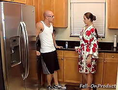 Cocks in theass while fucking mom with dildo