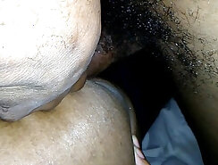 Busty ebony girl having her pussy rimmed