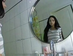 Awesome teen lady cleans some mess at bathroom