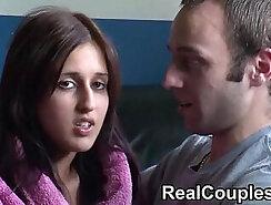 Amateur couple having sex in front of webcam