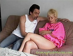 Blonde granny loves running on top - One Shot Look in the Eye