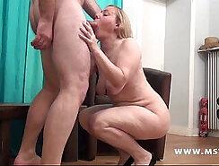 Casting euro cougar sucks off client after posing slit