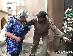 Blonde granny gets facial in front of her man