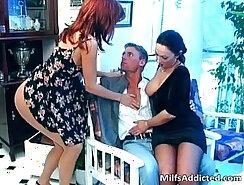 Busty brunette stockings Milf in blue dress finishesso