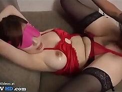 Attractive Japanese girlfriend gives a bondage handjob