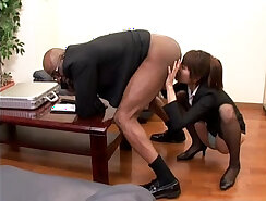 curvy japanese chewing on dick after street walk
