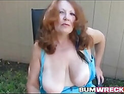 Amateur Redhead Cougar Taking Multiple Tongues
