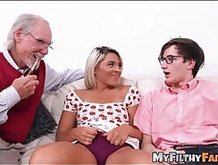Brunette in glasses threesome with a young boy