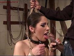 Aroused Brazilian slave sucks huge penis of master