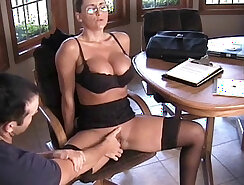 Aline squirts while watching porn