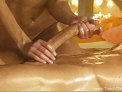 Blonde patient handjob on massage table