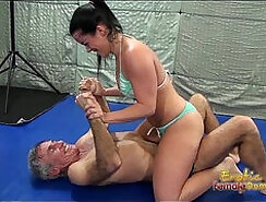 Sexy wrestling with Caroline leads to facesitting wins